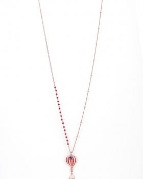 Collana in argento da 80cm con pendente a forma di mongolfiera