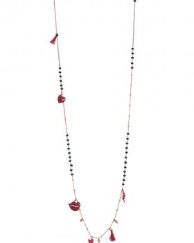 Collana in argento rosa lunga con pietre e bocca, cuori e fulmini smaltati