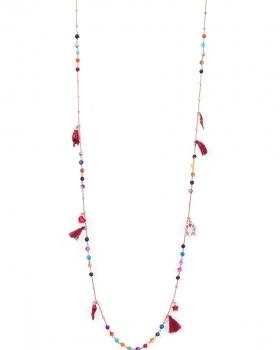 Collana in argento rosa lunga di 90cm con pietre colorate e pendenti portafortuna