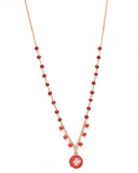 Collana in argento color rosa con pietre naturali rosse e pendente quadrifoglio con smalto rosso