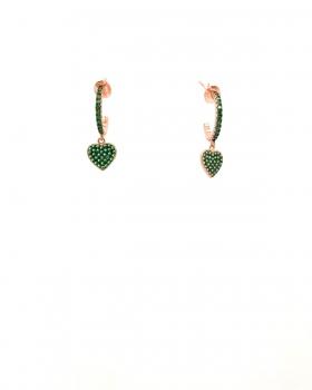 cerchio con zirconi verdi con pendente a cuore in argento  925 bagnato in oro rosa