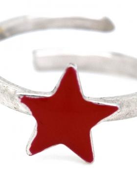 Anello stella smalto rosso
