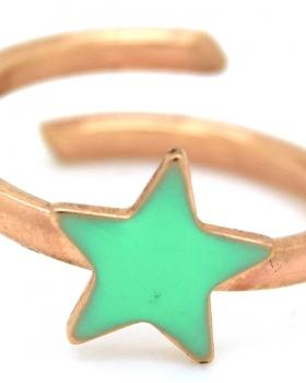 Anello stella smalto verde