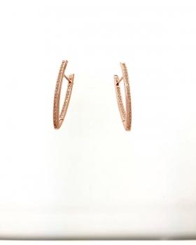 orecchino cerchio allungato a punta con zirconi in argento 925 bagnato in oro rosa