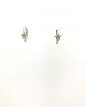 orecchino cerchio lucido con stella centrale con zirconi in argento rodiato