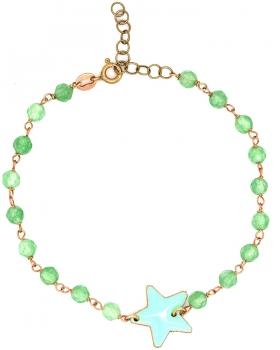 Bracciale placcato oro rosa con centrale smaltato verde acqua a forma di stella e pietre verde acqua