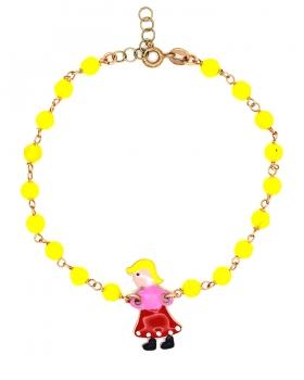 Bracciale in argento placcato oro rosa con centrale smaltato a forma di bambina e pietre gialle