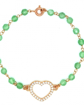 Bracciale cuore con pietre verdi