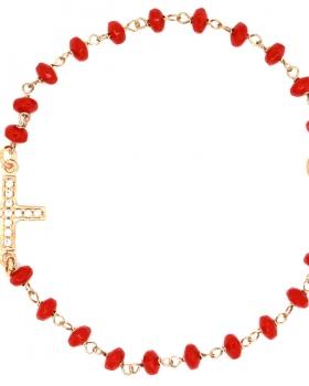 Bracciale croce con pietre rosse