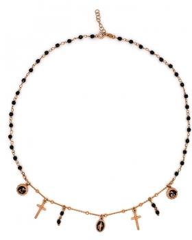 Collana rosario con pietre nere