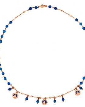 Collana rosario con pietre blu