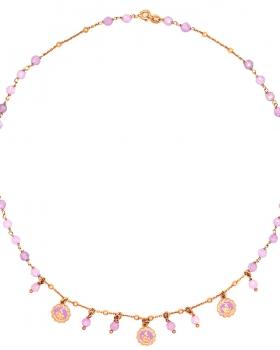 Collana rosario con pietre rosa