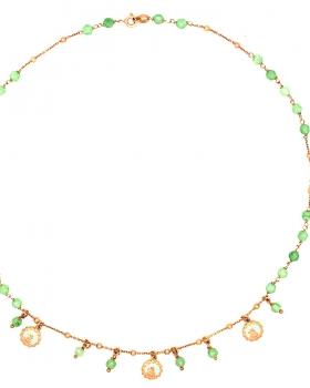 Collana rosario con pietre verdi