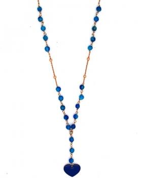 Collana cuore e pietre blu