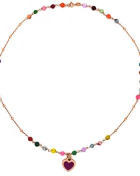 Collana cuore e pietre multicolore