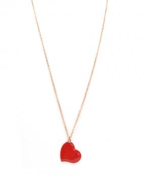 collana in argento con cuore rosso smaltato