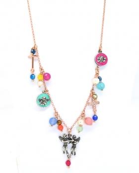 collana in argento con pendenti a forma di angeli e smaltati e croci e con perle e pietre naturali
