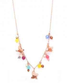 collana in argento con pendenti a forma di farfalle e con perle e pietre naturali