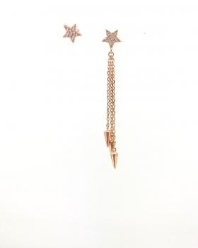 orecchino stella con zirconi + orecchino stella con zirconi e catena con finale lance in argento 925 bagnato in oro rosa