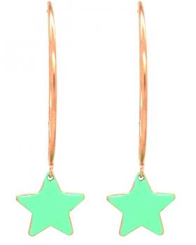 Orecchini campanella con stella verde acqua
