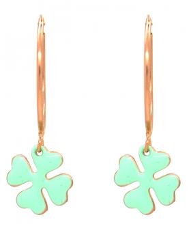 Orecchini campanella con quadrifoglio verde acqua
