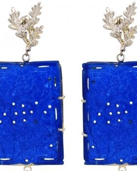 Orecchini giada blu a forma rettangolare con intarsi