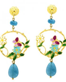 Orecchini fiori e farfalla con pietre naturali azzurre