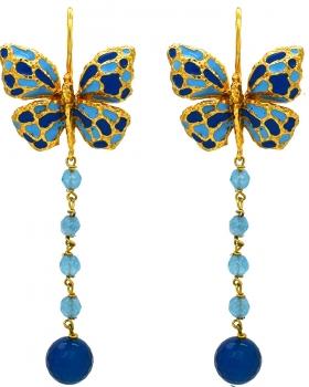 Orecchini farfalle con pietre naturali azzurre