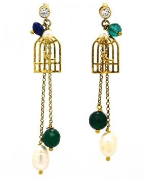 Orecchini gabbia con uccellini perle e pietre naturali