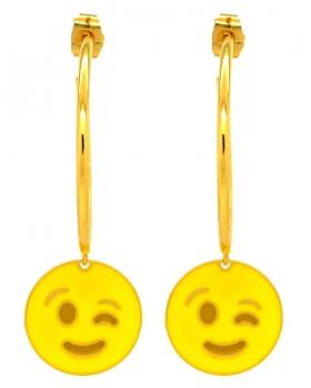 Orecchini Emoticons Social faccina che fa occhiolino