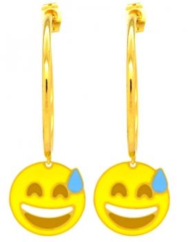Orecchini Emoticons Social faccina che ride e goccia sulla fronte