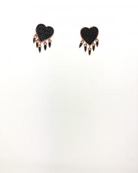 orecchino cuore a lobo con zirconi neri con punte di lancia pendenti con zirconi in argento 925 bagnato in oro rosa