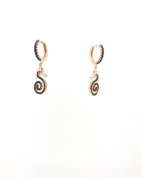 orecchino cerchio con zirconi neri con pendente cavalluccio marino con zirconi neri in argento 925 bagnato in oro rosa