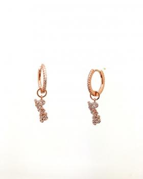 orecchino cerchio con zirconi con scritta love in corsivo con zirconi in argento 925 bagnato in oro rosa