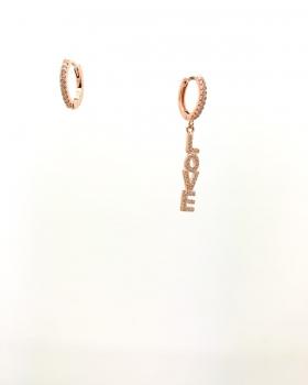orecchino cerchio con zirconi + orecchino cerchio con scritta pendente love con zirconi in argento 925 bagnato in oro rosa
