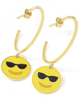 Orecchini Emoticons Social faccina con occhiali da sole