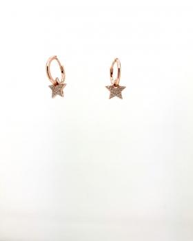 orecchino cerchio liscio con stella forata centrale con zirconi  in argento 925 bagnato in oro rosa