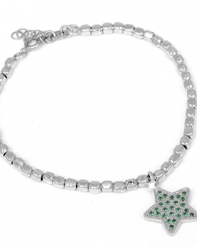 Bracciale in argento con pendente a stella e incastonate pietre naturali verdi zirconi
