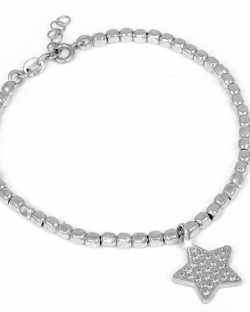 Bracciale in argento con pendente a stella e pietre naturali bianche
