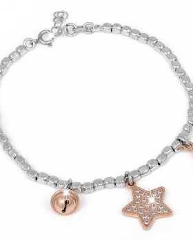 Bracciale in argento con pendenti a stella, corona e campanella