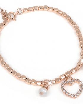 Bracciale in argento con pendente a cuore, campanella e perla di acqua dolce
