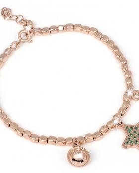 Bracciale in argento con pendente a stella e pietre naturali verdi, campanella e zircone