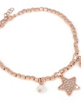 Bracciale in argento con pendente a stella e pietre naturali, campanella e perla