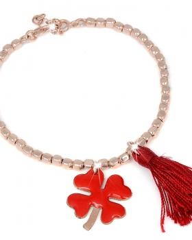 Bracciale in argento rosa con pendente quadrifoglio smaltato rosso e nappa