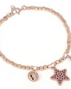 Bracciale in argento rosa con pendente a stella e pietre viola, campanella e zircone rosso