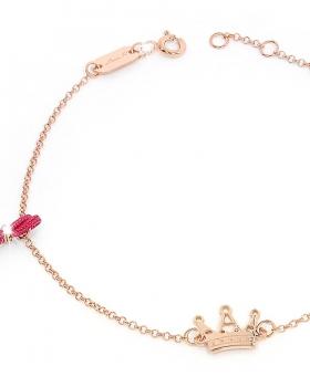 Bracciale in argento rosa con nappa rossa e corona