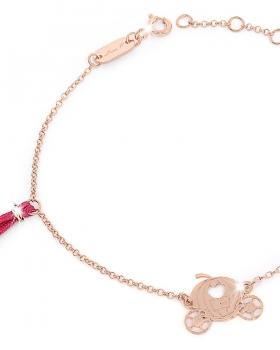 Bracciale in argento rosa con nappa rossa e carrozza di alice nel paese delle meraviglie