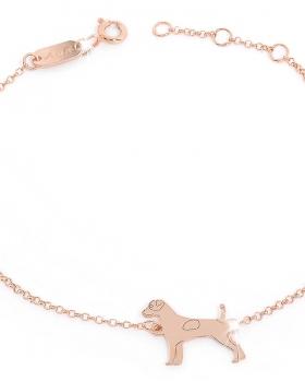 Bracciale in argento rosa con catena fine e pendente cagnolino