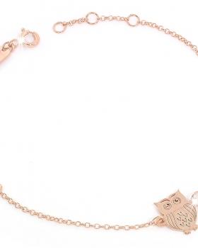 Bracciale in argento rosa con pendente gufo portafortuna