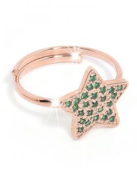 Anello in argento rosa a forma di stella con zirconi verdi
